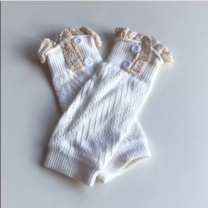 Girls Pointelle Knit Lace Boot Cuffs